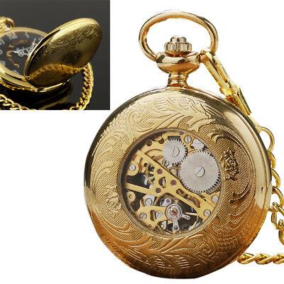 Mens Mechanical Watch Pocket Skeleton Black Gold Chain Retro Vintage Wind-Up USA Black Gold Pocket Watch