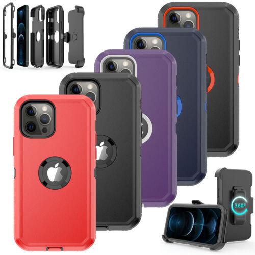 For iPhone 11 /12 Pro Max Case Cover w/Screen & Belt Clip Fi