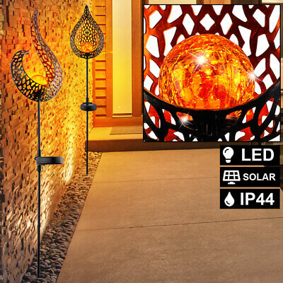 2x LED solar plug lights garden outdoor flame design glass ball lamps balcony