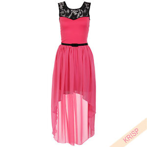 Women's Asymmetric Dip Hem Lace Dress Belted Chiffon Prom Party Evening Mesh