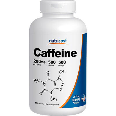 Nutricost Caffeine Pills, 500 Capsules, 500 Servings, 200mg Per Serving