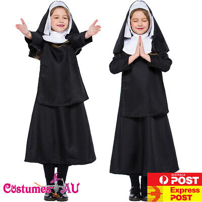 Baby Nun Costume (Kids Girls Nun Costume Halloween Party Book Week Fancy Dress Child Sister)