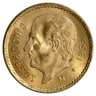 1955 Mexico Gold 5 Pesos (.1205 oz) - BU