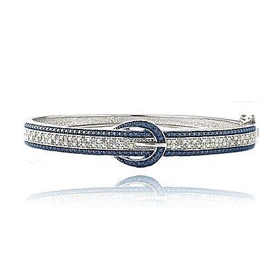 0.50ct TDW Blue & White Diamond Belt Buckle Bangle (Tdw Diamond Bangle)