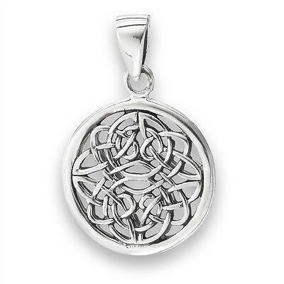 Detailed Sterling Silver Pendant CELTIC KNOT Knotwork Charm Jewelry 925