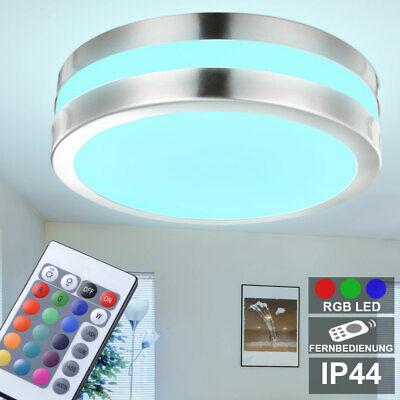 RGB LED Exterior Cubrir Luz Baño Habitación Terraza Plata Lámpara Control Remoto