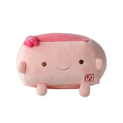 Tofu Cushion Hannari  Plum Pink Stuffed Toy Cushion Size M Japan Gift Cute