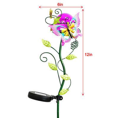 Metal Solar Butterfly Crackle Glass Light LED Landscape Path Flower Stake -