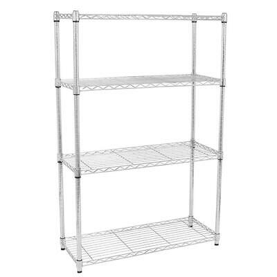 4 Tier Wire Steel Nsf Shelving Rack Heavy Duty Chrome Shelf Adjustable Organizer