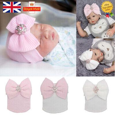 Baby Girls Infant Striped Soft Hat with Bow Cap Hospital Newborn Boy Beanie Hats