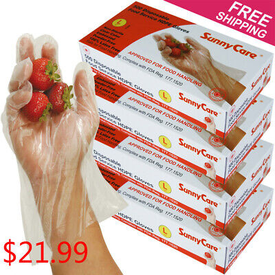 2000pcs Poly Hdpe Food Handling Service Disposable Gloves Latex Vinyl Free - L