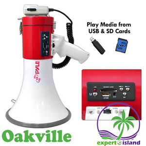 PyleHome (PMP57LIA) Professional Megaphone - Comes with Rechargeable Battery and Built-in MP3 Player USB Flash and SD