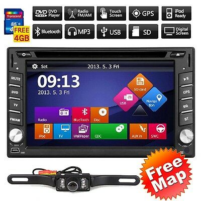 US GPS Navigation HD Double 2DIN Car Stereo DVD Player Bluetooth iPod MP3+Camera on Rummage