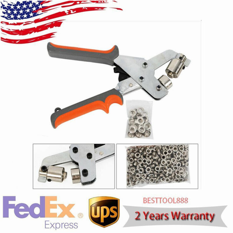 Portable Metal Manual Grommet Machine Eyelet Hand Press Tool Banner+500 Grommets