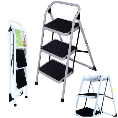 New Non Slip 3 Level Step Stool Folding Ladder Safety Tread Kitchen Home Use