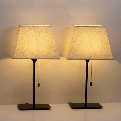 Table Lamp Set of 2  Elegant for Any Room Elegant Linen  Convenient  Metal White