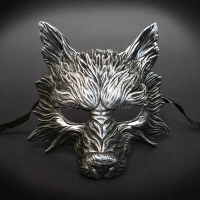 2017 Silver Humble, Hungry & Scary Wolf Mask Half Unisex Resin Masquerade Mask ](Hungry Wolf Mask)