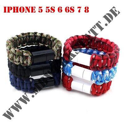 ❗ sofort lieferbar ❗ Stoff Armband USB Ladekabel iPhone 5 5s 6 6s 7 8 ()