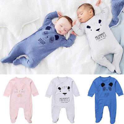 US Newborn Baby Boy Girls Bear Cotton Romper Jumpsuit Bodysuit Outfit Clothes (Bear Jumpsuit)