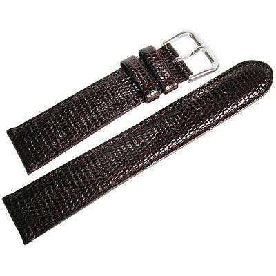 18mm deBeer Mens Short Brown Lizard Grain Leather Watch Band