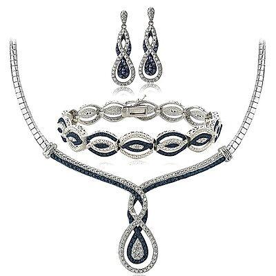 3/4 Ct Blue & White Diamond Infinity Necklace Bracelet Earrings Set in Brass