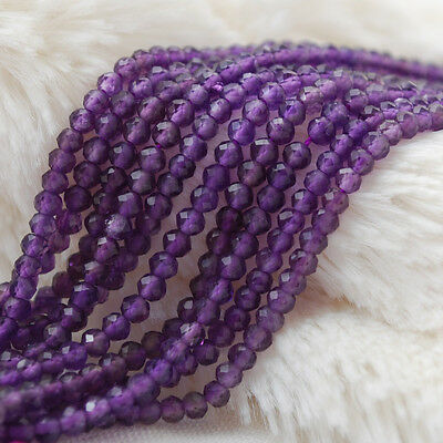 """Grade A Natural Amethyst Faceted Rondelle Spacer Gemstone Beads 2 x 3mm - 15.5"""""""