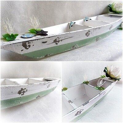 DekoEins® Holz Deko Boot Schiff 65cm maritim weiß Dekoration Meer Strand Muschel