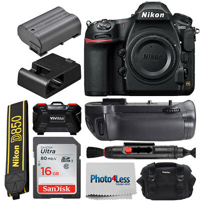 Nikon D850 Digital SLR Camera Body 45.7MP 4K FX-format + Battery Grip Value Kit
