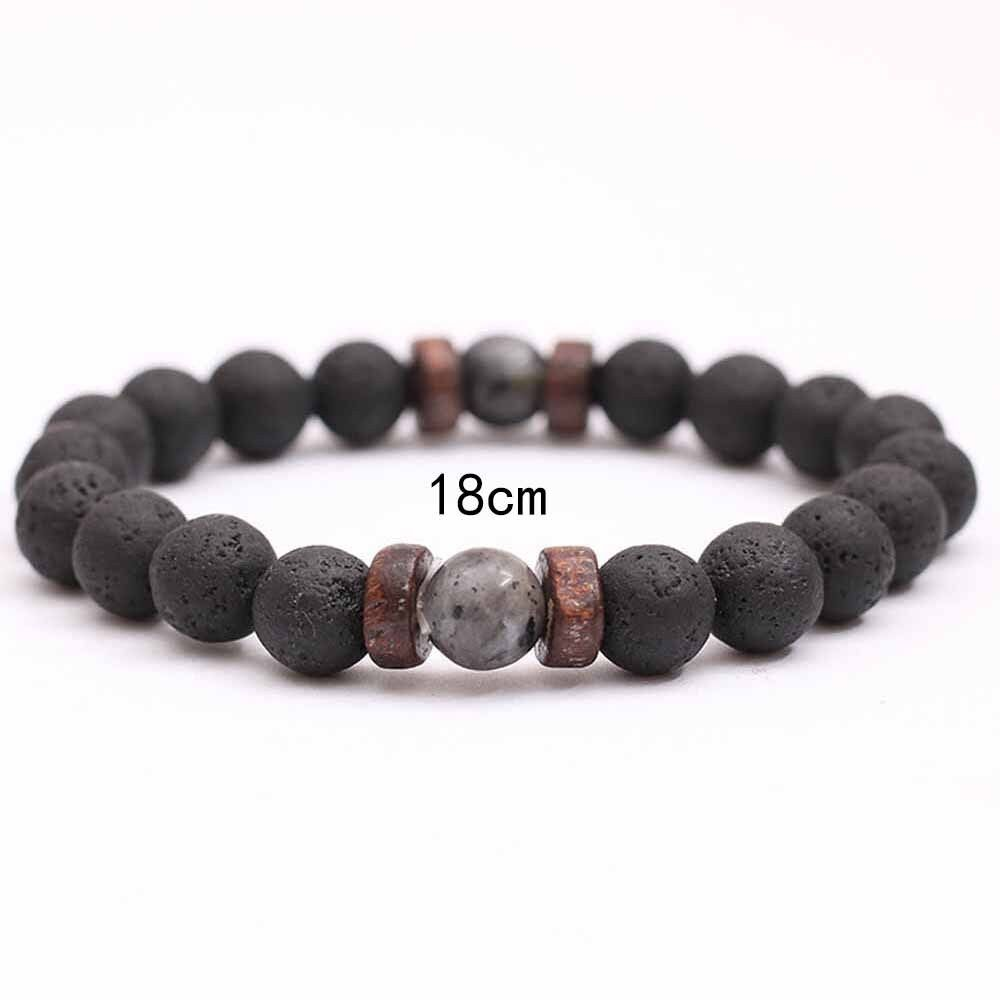 Details About Men Natural Black Lava Rock Stone Beads Strand Bracelets Wooden Jewelry