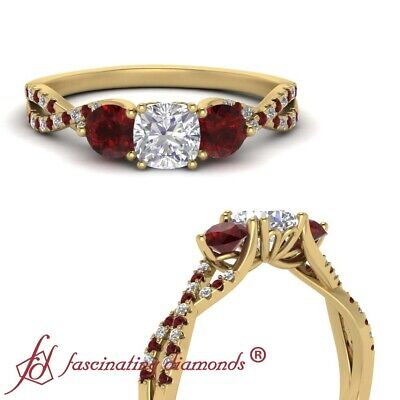 1.25 Carat Cushion Cut Diamond And Ruby Infinity Twist 3 Stone Engagement Ring