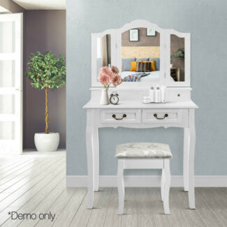 Luxury 4 Drawer Dressing Table with Stool