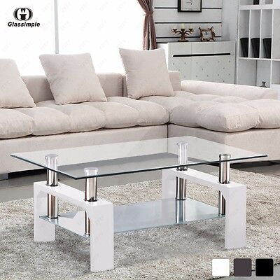 تربيزه جديد Designer Glass Rectangular Coffee Table Shelf Chrome Wood Living Room Furniture