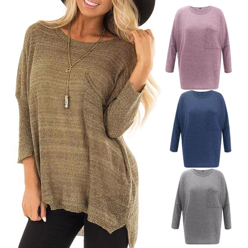 Women Long Sleeve Solid knit Sweatshirt Pullover Loose Tops Blouse Shirt Jumper
