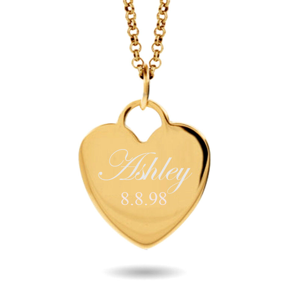 Personalized Name Heart Necklace Custom Engraved Gold Silver