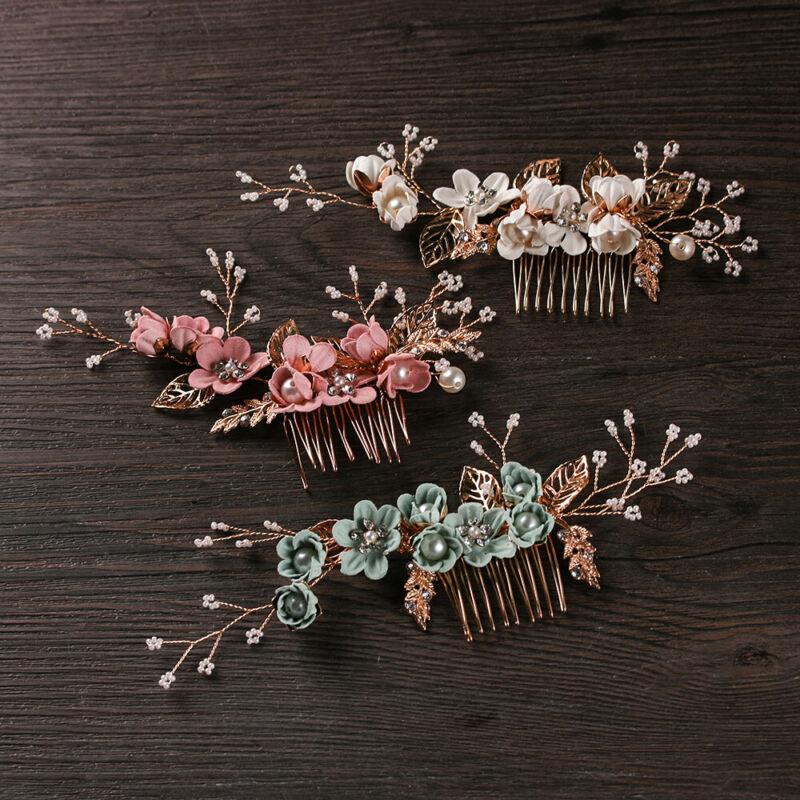 Fashion Luxury Blue Flower Hair Combs Headdress Leaves Tiara