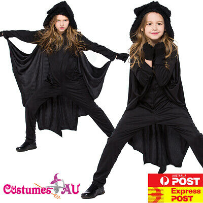 Child Black Vampire Bat Wings Costume Dracula Halloween Girls Boys Book - Boy Bat Costume
