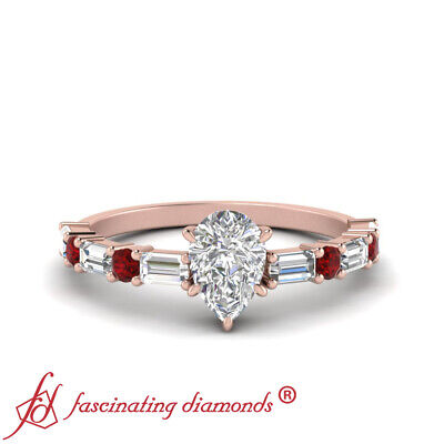 1.25 Carat Pear Shaped Diamond And Ruby Gemstone 14K  Rose Gold Engagement Ring