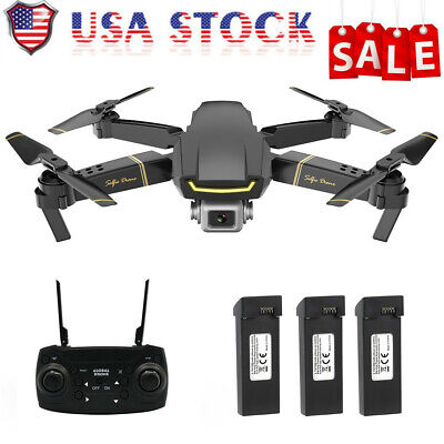 DRONE WIFI FPV 1080P HD CAMERA 3 BATTERIES FOLDABLE SELFIE RC QUADCOPTER U0K9