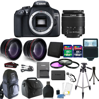Canon EOS Rebel 1300D/T6 18MP DSLR Camera + 18-55mm  Lens +