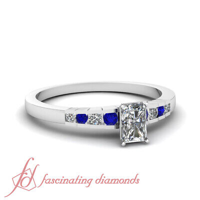1 Ct Radiant Cut GIA Certified Diamond Engagement Ring With Round Blue Sapphire