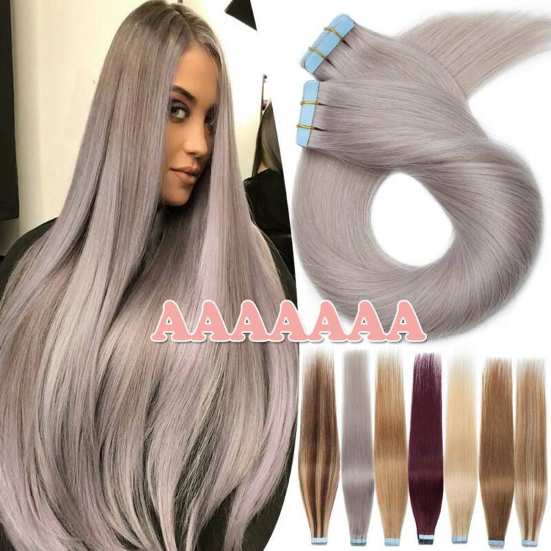 Tape In Remy Skin Weft Real Human Hair Extensions Full Head