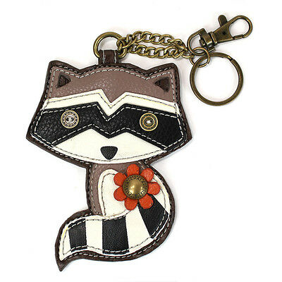 Chala Raccoon Whimsical Inspired Key Chain Purse Leather Bag Fob Charm