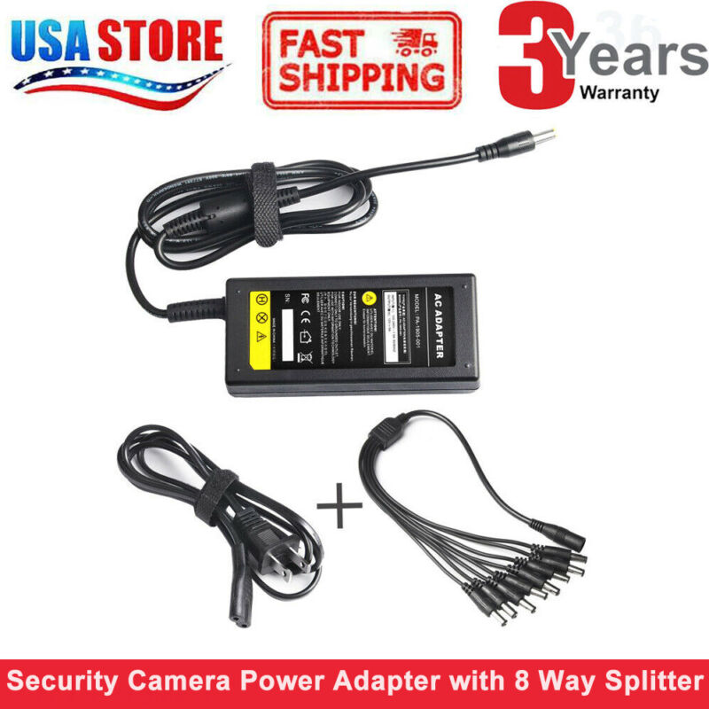 Security Camera Power Adapter Cable US Plug For 12V CCTV W/ 8 Way Splitter Cable