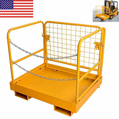 Forklift Safety Cage Work Platform Sturdy Lift Basket Aerial Rails 36x 36