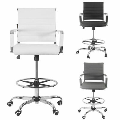 Office Drafting Chair Ergonomic Pu Leather Computer Height Adjustable Swivel