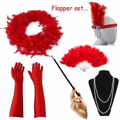 1920's Womens Flapper Charleston Accessory Red Set Gatsby Fancy Dress Costume - 20s Costume