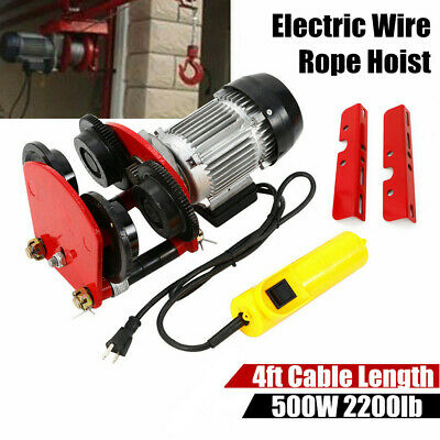 1 Ton Electric Wire Rope Hoist W Trolley 2200 Lb 4ft Cable All-copper Motor Usa