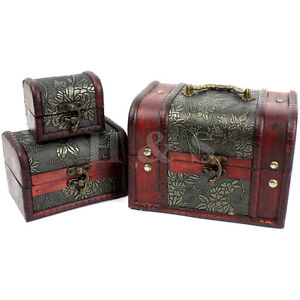 Set of 3 Wooden Vintage Treasure Chest Jewellery Storage Box Case Organiser Ring