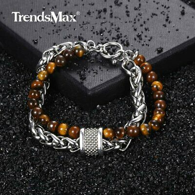 Mens 2 Layers Tiger Eye Stone Beaded Bracelet +Stainless Steel Wheat Chain 8-10