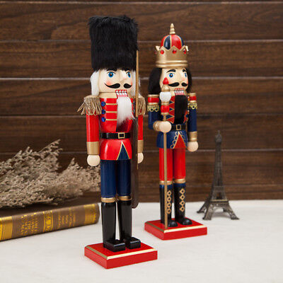 - 38CM Handmade Wooden Nutcracker Soldier Puppet Christmas Ornaments Home Decor US